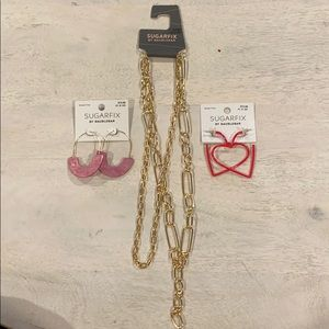 Brand New Necklace & 2 Earring Bundle by Sugarfix